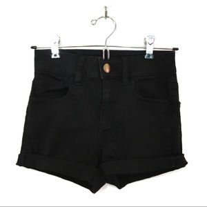 american eagle | black hi rise sateen shortie (00)